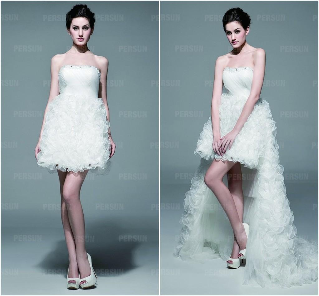 robe de mariée courte bustier jupe brouillonné avec jupe détachable