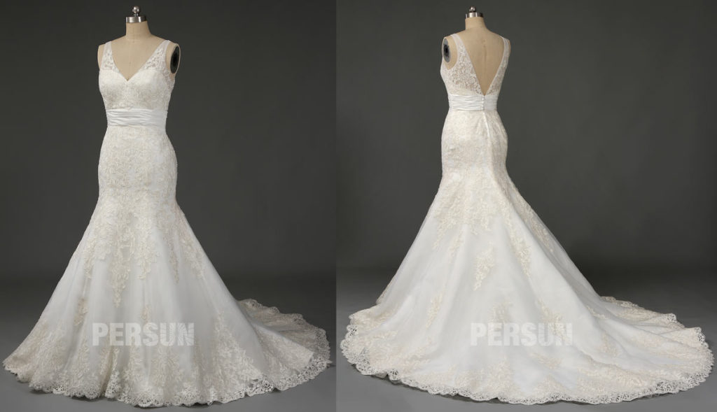 robe de mariage trompette décolleté v appliquée de dentelle florale avec traîne royale
