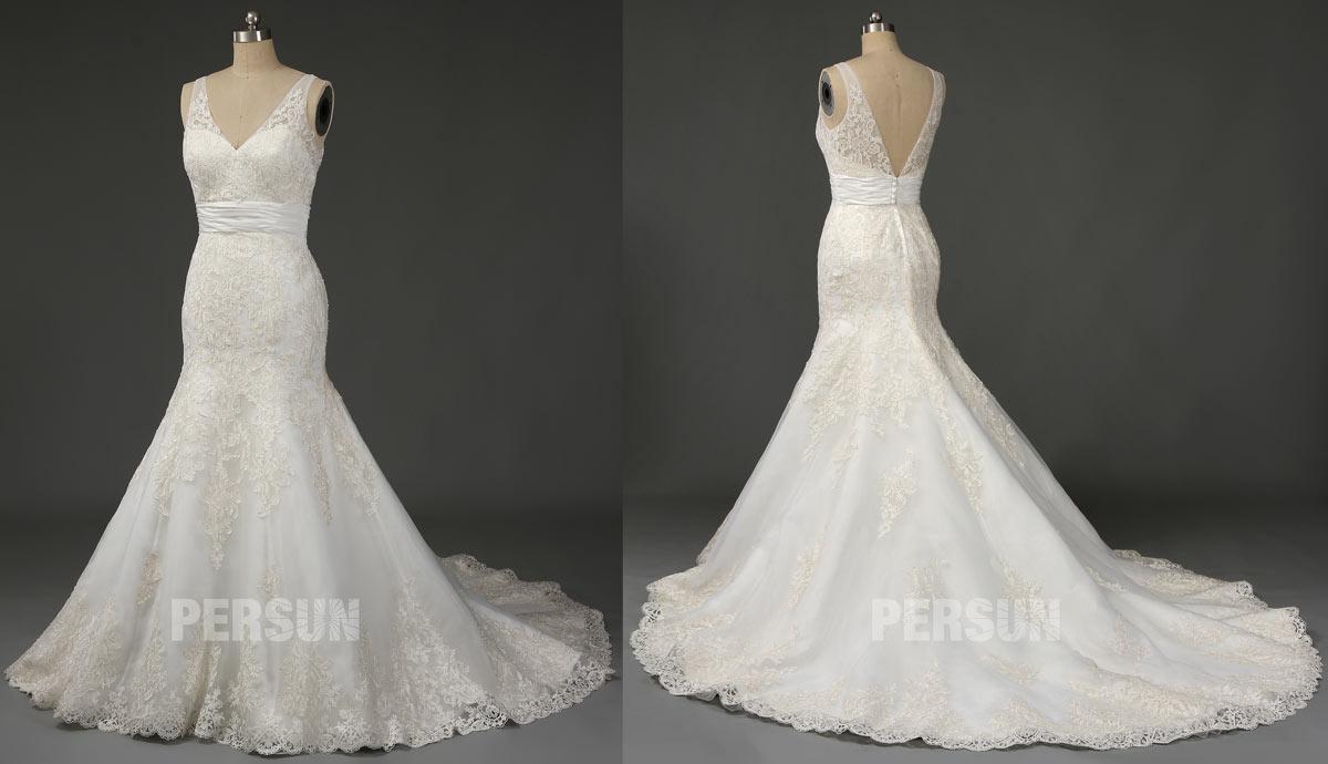 robe de mariage trompette décolleté v en dentelle appliquée