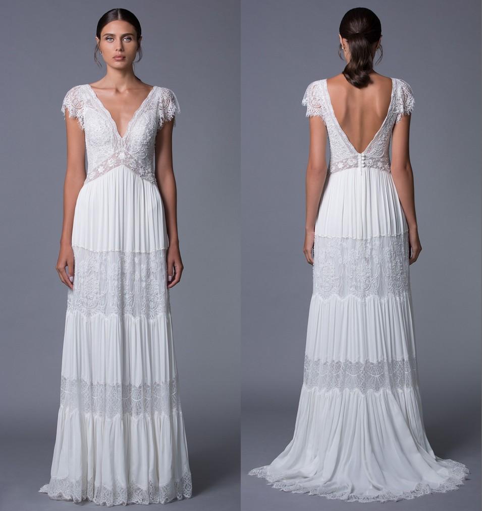 robe de mariée décolleté en v à mancheron