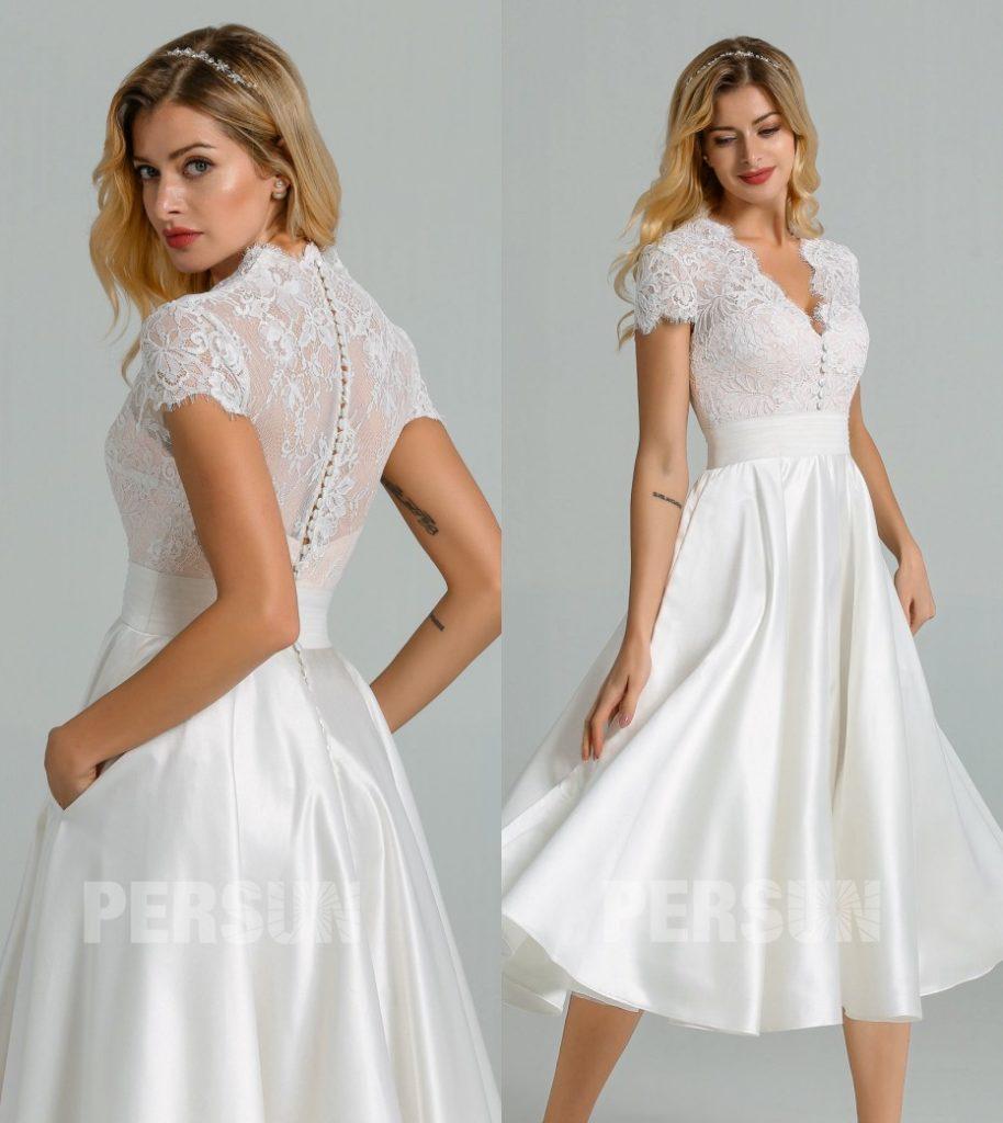 robe de mariée midi haut en dentelle à mancheron encolure v