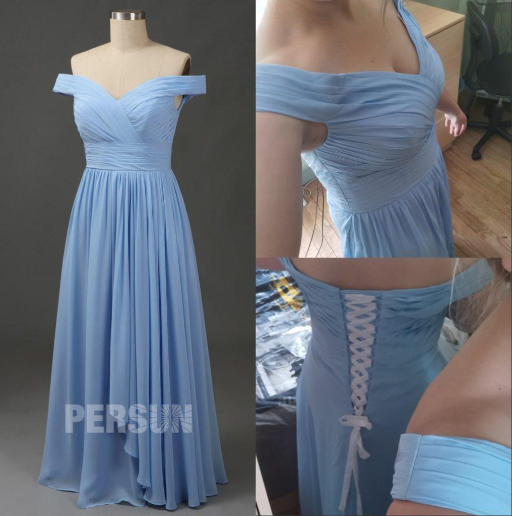 robe de soirée longue bleu col bardot plissé jupe cascade