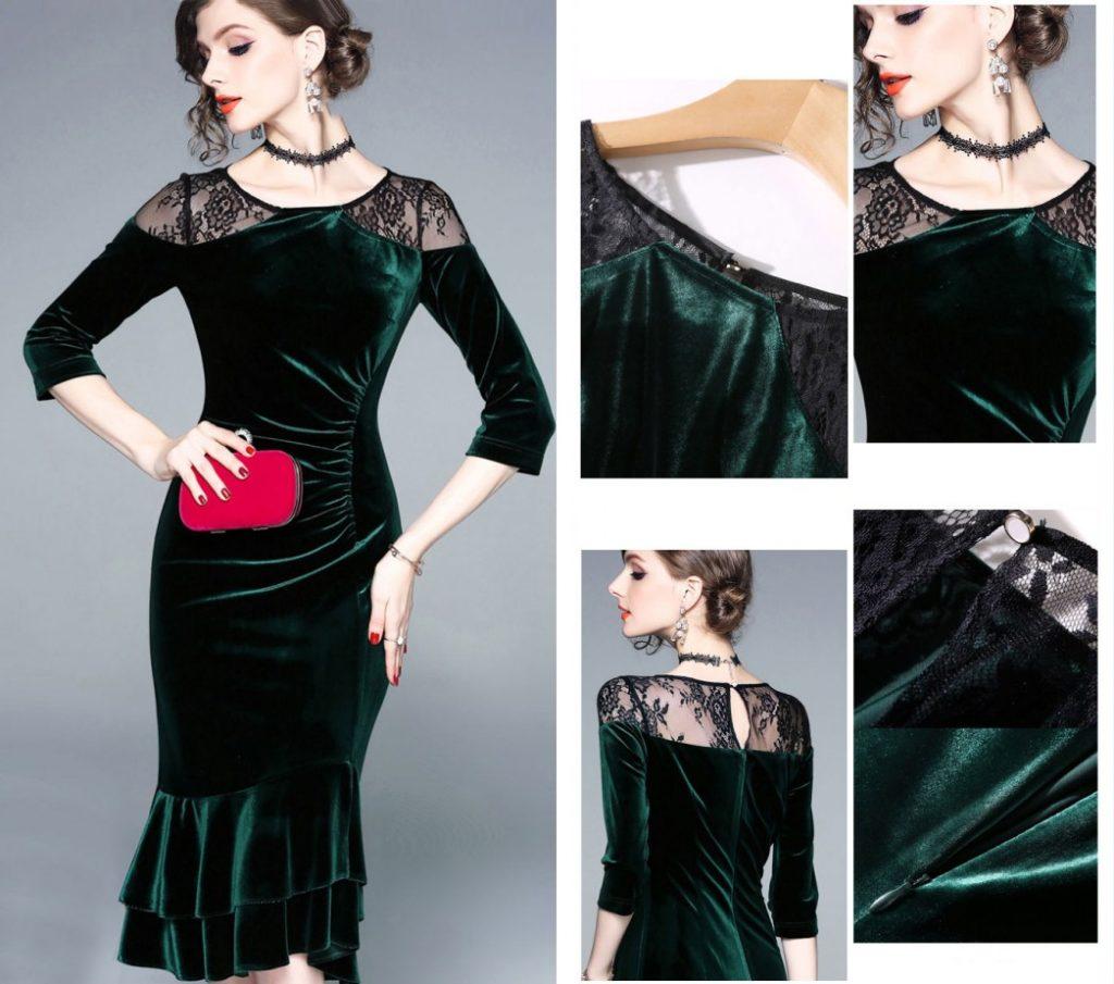 robe de cocktail sirène courte vert foncé épaule en dentelle à manches courte