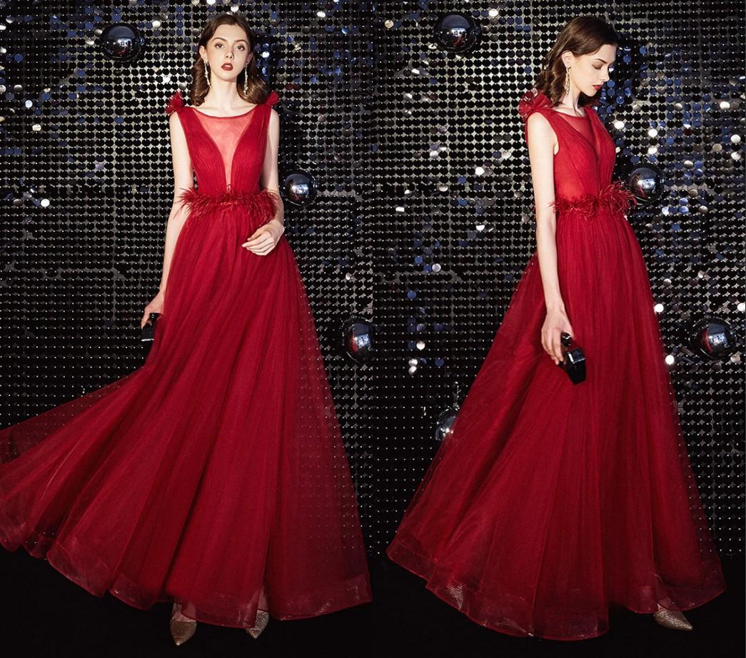 robe de soirée longue rose décolleté plongeant illusion