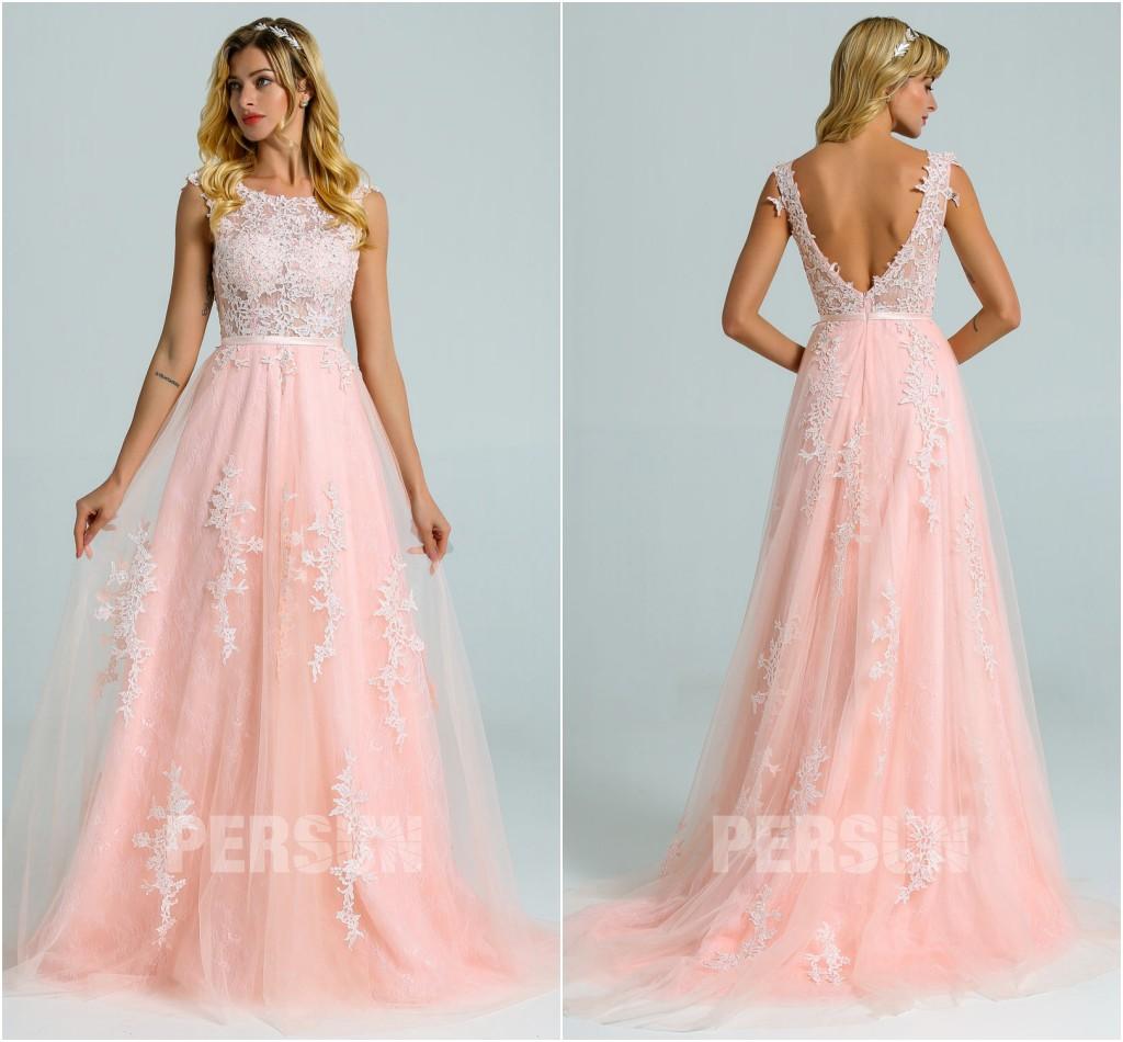 robe de mariée rose perle col illusion dos ouvert en dentelle appliquée