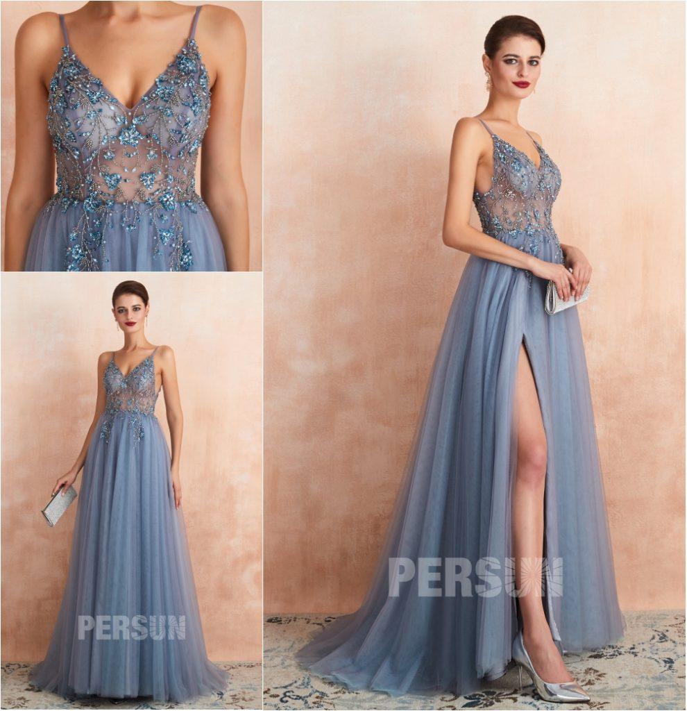 robe de soirée fendue parme dos ouvert haut transparent embelli de bijoux exquis