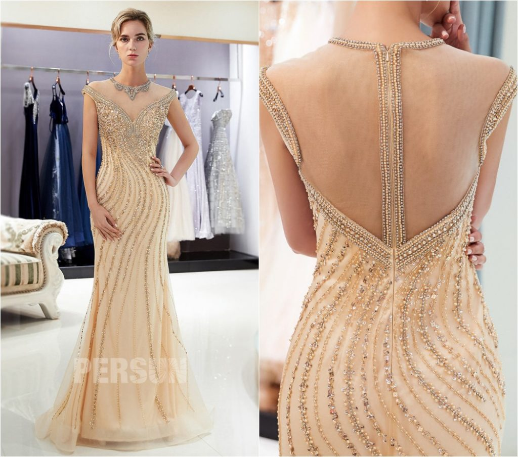 robe de soirée 2021 sirène champagne doré col illusion ornée de bijoux
