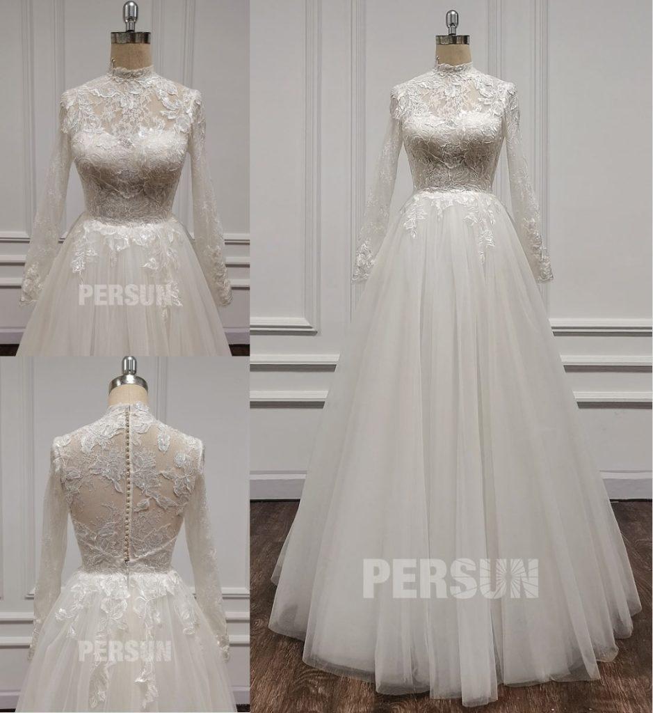 robe de mariée chic col haut en dentelle appliquée à manches longues